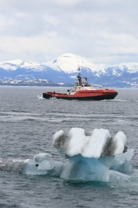 Crowley Tug Nanerliq in the Ice Filled Waters of Prince William Sound Alaska - Photo Alan Sorum