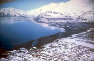 Tsunami damage at Valdez Alaska Following the 1964 Good Friday Earthquake - Credit: DOI