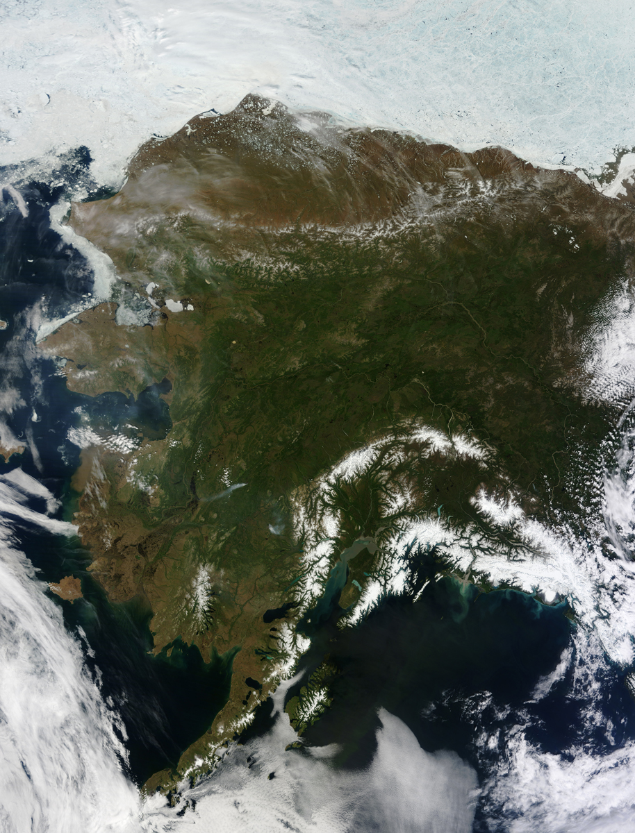 NASA Records Rare Clear View of Alaska - Image Credit: NASA/Jeff Schmaltz, LANCE MODIS Rapid Response Team, NASA GSFC