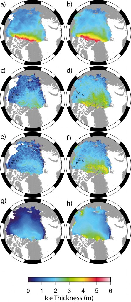 ICESat, CryoSat and PIOMAS sea ice thickness measurements