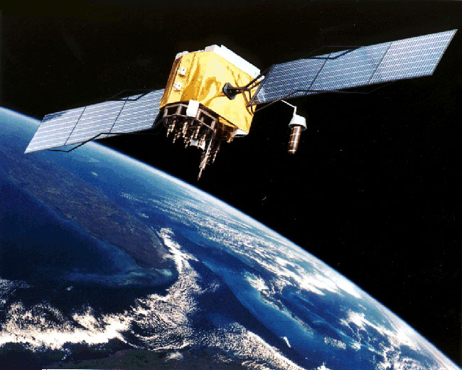 One in the constellation of 24 GPS satellites that transmits radio signals to Earth from 11,000 miles in space. One in the constellation of 24 GPS satellites that transmits radio signals to Earth from 11,000 miles in space - NOAA Photo