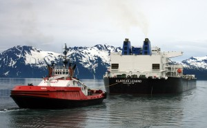 Escort Tug Nanuq and Tanker Alaskan Legend - Photo by Alan Sorum